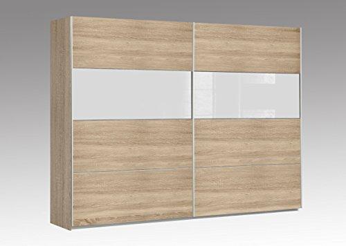 DREAMLINER Schwebetürenschrank 2-trg. ,Sonoma/Weissglas, ca.270x210x62 cm