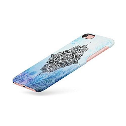 Henna Golden Ornamented Mandala Custodia Posteriore Sottile In Plastica Rigida Cover Per iPhone 7 & iPhone 8 Slim Fit Hard Case Cover Turquoise Mandala