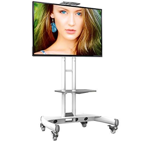 AVA1500W Weiß - Standfuß mobil fahrbar TV Ständer Trolley 32-65 Zoll Kamera Ablagen und AV-Ablagen