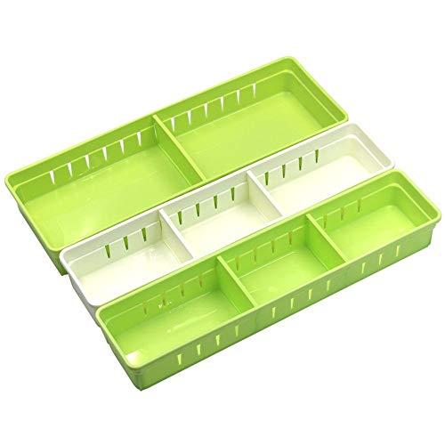 Kreative Schubladen-Boxen, Organizer aus Kunststoff, Schubladen-Trennwände, Aufbewahrungsbox, Schreibwaren, Make-up, 3er-Set L Green+s Green+s White