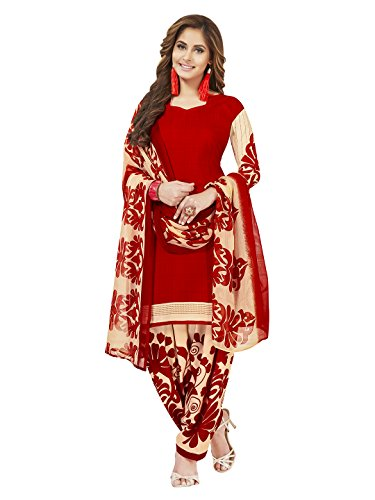 Jevi Prints Women's Unstitched Synthetic Crepe Red & Beige Geometric Printed Salwar...