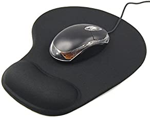 Galaxy Hi-Tech Aming Mouse Pad with Comfort Gel Wrist Support Black Desk pad