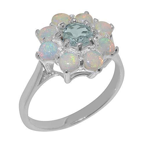 Damen Ring Solide Sterling-Silber 925 mit Aquamarin und Opal - Größe 52 (16.6) - Verfügbare Größen : 47 bis 68 (Antik Aquamarin Ringe)