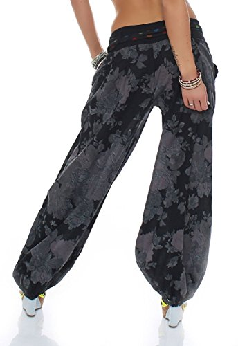 malito Pantaloni alla zuava disegno Floreale Boyfriend Aladin Harem Pantaloni Sbuffo Pump Baggy Yoga 3418A Donna Taglia Unica nero