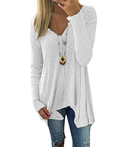 Womens V-neck Argyle Pullover (CuteRose Women Plus Size V Neck Relaxed Knit Pullover Knitting Tunic Top White 4XL)