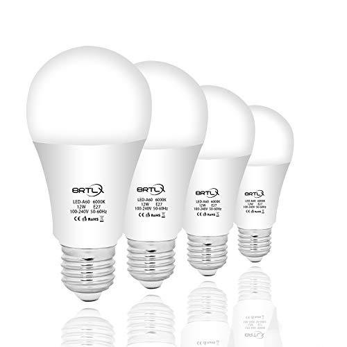 BRTLX 12W LED Lampen E27 Ersetzt 100W Kaltweiß 6000K 960LM 200° Abstrahlwinkel Nicht Dimmbar 4er Pack (100 Led-licht-lampe Watt)