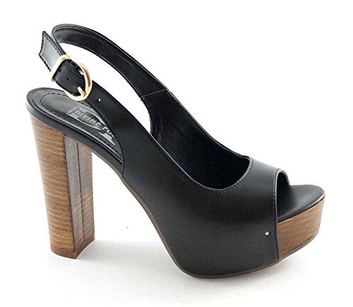 DIVINE FOLLIE SP1960 nero sandali donna tacco plateaux Nero