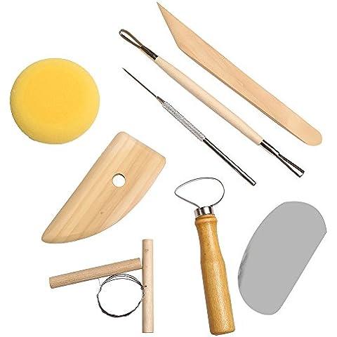 8pcs Cerámica Acerca de arcilla Cerámica moldeado Needle Cutter Loop Ribbon Tools Kit