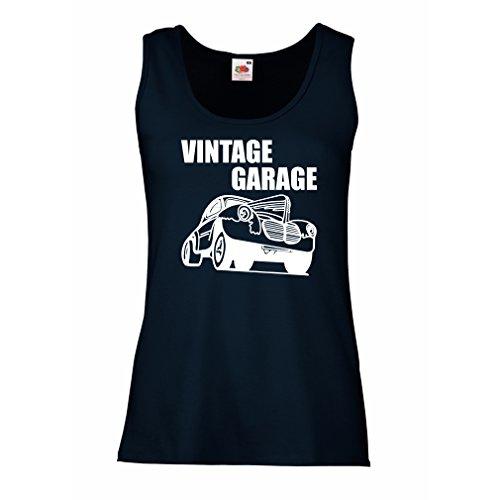 lepni.me Serbatoio,Maglietta Senza Maniche Femminile Garage D'Epoca - Attrezzatura per Officina, Abbigliamento automobilistico Azzulo Bianco