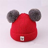 ETMAAA Kinder Wolle Hut Herbst und Winter Kennzeichnung Doppelkugel Kinder Stricken Hut Baby warme Kopfbedeckungen