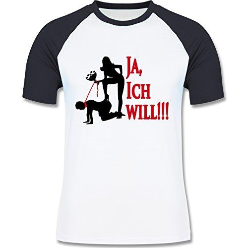 JGA Junggesellenabschied - Ja ich will - zweifarbiges Baseballshirt für Männer Weiß/Navy Blau