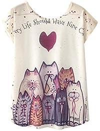 QinMM Camiseta Tops Estampada para Mascotas de Mujer, Camisa de Verano de Gato de Perro