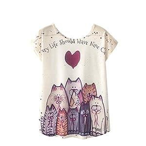 QinMM Camiseta Tops Estampada para