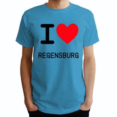 I love Regensburg Herren T-Shirt Blau