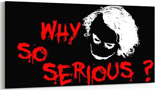 Canvas Batman Joker Why So Serious Heath Ledger-Zitate Panoramic Leinwand-Bild XXL –, fertig zum Aufhängen, zwei Größen zur Auswahl Hochwertiger, 30 x 70 cm