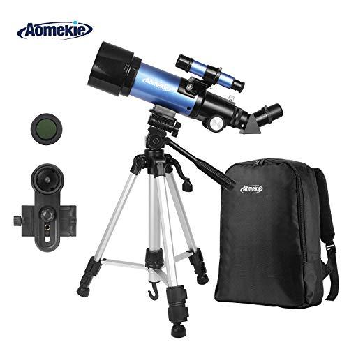 Aomekie Teleskop Fernrohr Kinder Einsteiger 70/400 Telescope Astronomy mit 20X Smartphone Adapter Stativ Tasche Barlow und Mondfilter