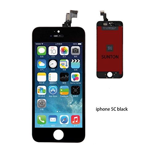 """SUNTON Kit de Réparation Ecran LCD pour iPhone 5C, Retina Vitre Tactile Display Complet Pour iPhone 5C (4.0"""" inch) avec Outils de Réparation - Noir"""