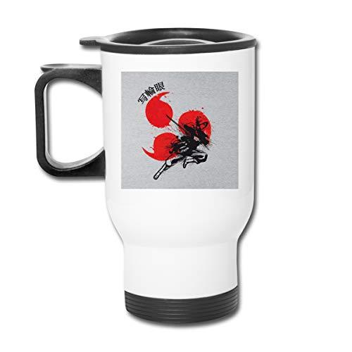 Red Sun Sasuke Sharingan Naruto Doppelwandige Vakuum-Kaffeebecher mit spritzwasserfestem Deckel für heiße und kalte Getränke