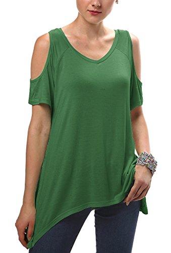 Urbancoco Damen Vogue Schulterfrei unregelmäßige sidetale Tunika Top Shirt Dunkelgrün