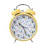 DE-BLUS Wecker/8-Zoll-Silent-Metall-Glocke Nachttisch/Candy-Farbigen Schneeflocken Leuchtende Kinderuhr, Gelb