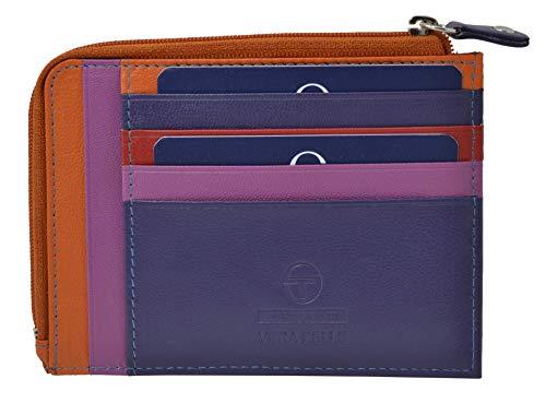 Bergio Tacchini, Kartenhalter aus echtem Leder, kleine Geldbörse mit Geldtasche, für Damen und Herren, schmal, elegant