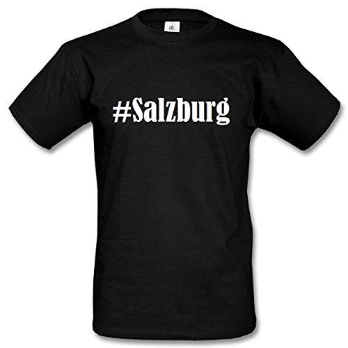 T-Shirt #Salzburg Hashtag Raute für Damen Herren und Kinder ... in der Farbe Schwarz Schwarz