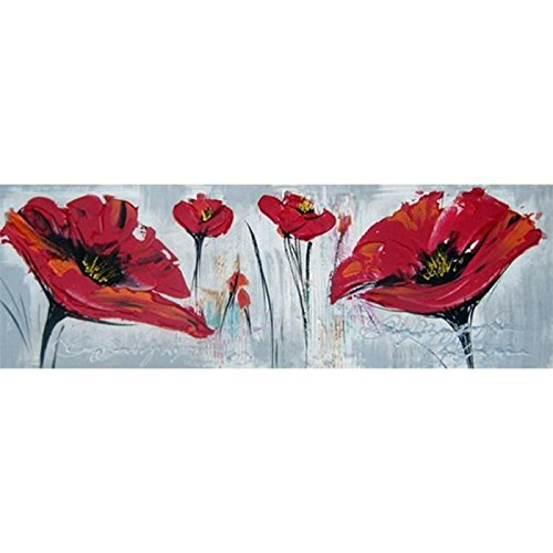 Toile peinte main coquelicots rouges 90x30cm BLUM