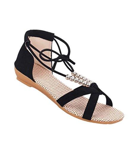 YOUJIA Femmes Lacets Peep Toe Romain Sandales Tongs Chaussures de plage #2 Noir