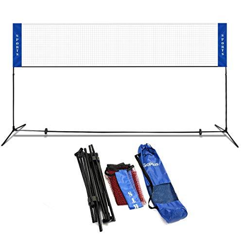 Goplus Badmintonne Outdoor, Tennisnetz Höhenverstellbar, Vollezballnetz Faltbar, Federballnetz, Badminton Netz mit Tragetasche