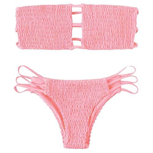 Yuson Girl Mujeres Conjunto De Plunge Bikini Sexy Bandeau Plisado con Triangulo Tanga Cuello Halter...