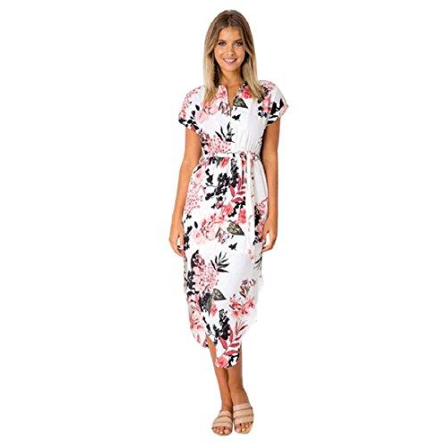 411ffaf20b2 PAOLIAN Damen Beiläufig Kurzarm V-Ausschnitt Maxikleid Sommer Bedrucktes  Strandkleid Sommerkleid Midikleid mit Gürtel (
