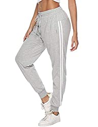 Hawiton Damen Sporthose Jogginghose Lang Streifen Baumwolle Freizeithose Hose für Fitness Training Grau S