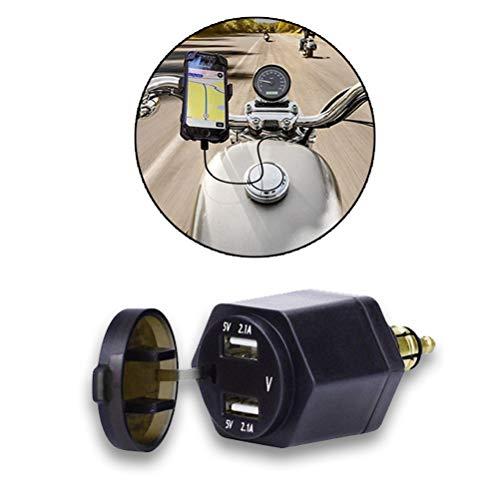 Zigarettenanzünder Adapter USB Auto KFZ Ladegerät Verteiler Splitter Multi Power DC 12V/24V mit LED Voltmeter Schalter  für BMW Motorrad/Telefon/iPhone/GPS/Navi (Blue)