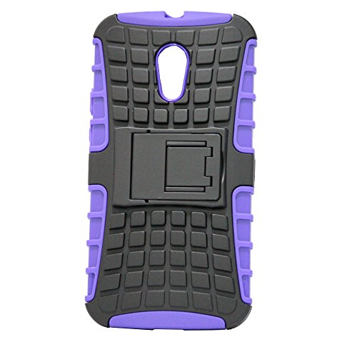 J Kick Stand Armor Hybrid Case Cover Bumper Designed For Bumper Designed For Motorola Moto G XT1031 Black Purple  available at amazon for Rs.79