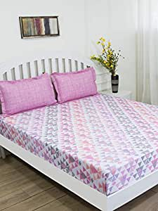 GMF Regal 144 TC King Bedsheets with 2 Pillow Covers - Pink