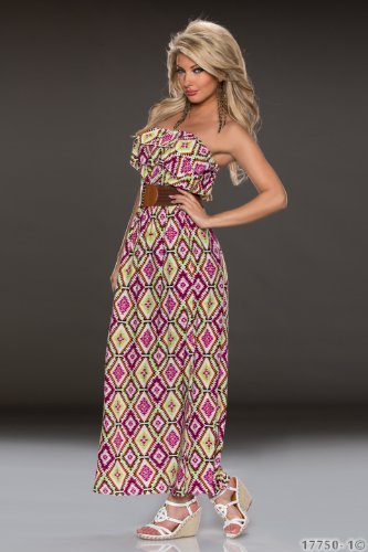 Fashion4Young 5915 robe bandeau sans bretelles pour femme-robe robe d'été en 4 couleurs disponibles - Lila Multicolor