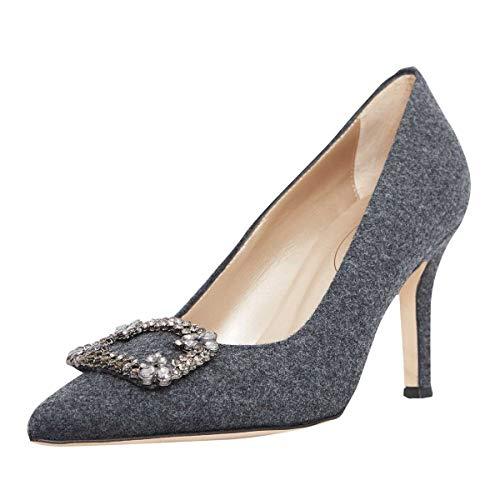 dirndl + bua Damen Dirndl-Schuhe Pumps Gina in Grau Trachten-Schuhe, Schuhgröße:39 1/2, Farbe:Grau