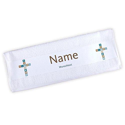 Striefchen® Handtuch zur Taufe/Kommunion / Konfirmation mit Namen und Wunschtext für Jungen