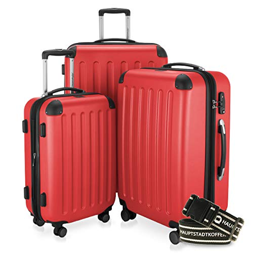 Hauptstadtkoffer - Spree - 3er-Koffer-Set Trolley-Set Rollkoffer Reisekoffer-Set Erweiterbar, TSA, 4 Rollen, (S, M & L), Rot inkl. Gepäckgurt
