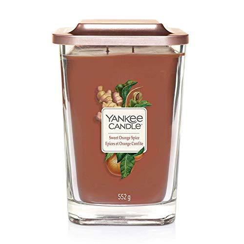 Yankee Candle Elevation Kollektion mit Plattformdeckel Große 2-Docht-Quadratkerze, Sweet Orange Spice -