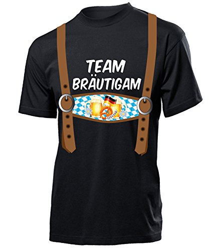 Team Brautigam 5845 Junggesellenabschied Feier Ideen JGA Hochzeit Heiraten Outfit Hemd Herren Shirt Kostüm für Männer Geschenk Tshirt Schwarz L
