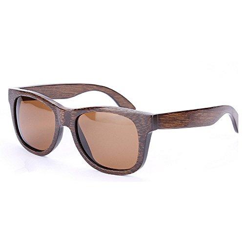 Yiph-Sunglass Sonnenbrillen Mode Damen Sonnenbrille Retro Handmade Bambus Rahmen Polarisiert für Männer Frühling Scharnier Sonnenbrille UV Schutz Fahren Umwelt Strand Sonnenbrille (Farbe : Braun)