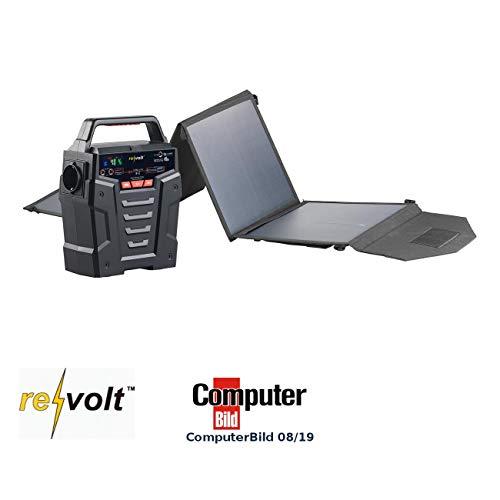 reVolt Solar-Akku 12V: Solar-Generator & Powerbank mit faltbarem 50-Watt-Solarpanel, 75 Ah (Energienbanken)