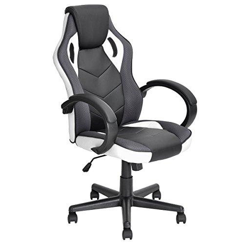 FurniturerR Racing Gaming Chair Sessel Style Sessel hoch verstellbar Ergonomische Executive Drehstuhl mit PU-Leder Büro Aufgabe Stuhl Computer Unterstützung Sitz weiß (Sitzgelegenheiten Unterstützung)