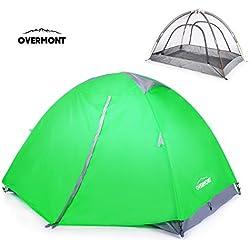 Overmont Tienda de campaña iglú familiar impermeable, 1-2 personas, 4 temporadas, 210*140*115cm, con doble capa y mosquitera, para camping picnic senderismo naranja/verde