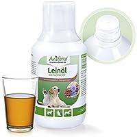 AniForte Lein-Öl 250 ml für Katzen, Hunde und Pferde, Nativ, Kaltgepresst, Premium-Qualität, Direkter Energie-Lieferant