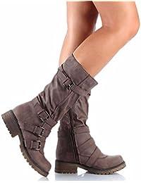 La moda europea y americana largo invierno botas canister,brown,41