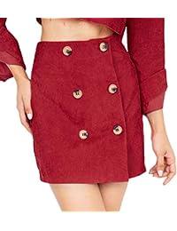 Faldas Mujer Otoño Invierno Vintage Fashion Doble Botonadura Corduroy Elegantes  Cintura Alta A-Línea Falda Ropa Minifalda Color Sólido… aef80d34288b