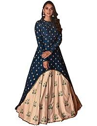 Rozy Fashion Banglori Silk Navy Blue Color Long Gown With Dupatta Set