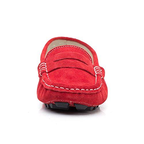 rui Di In Scamosciata Rossa Camminare Donna Pelle Scarpe Piatta In Casuali In Pelle Aa HAIwATx8q5